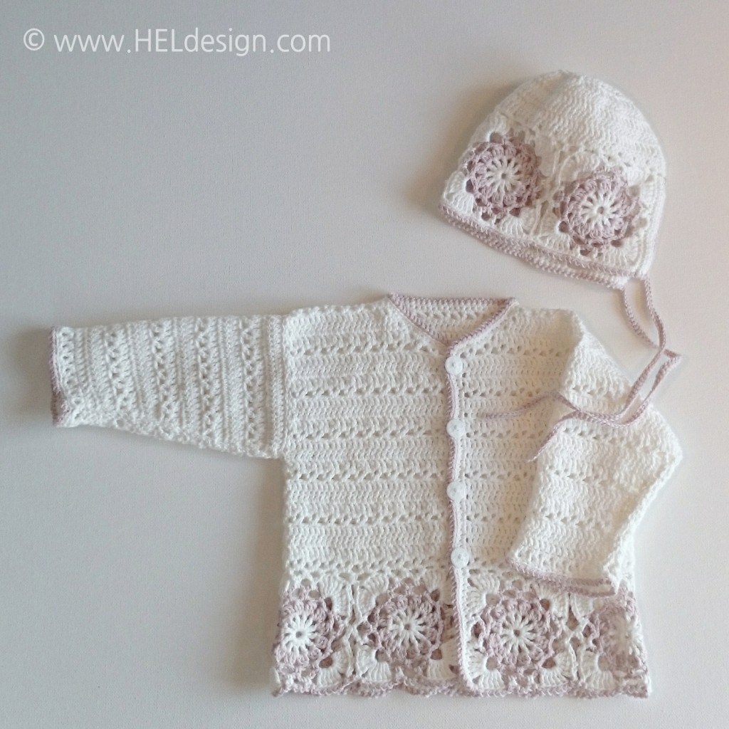 Heklet babyjakke og lue /// Crochet baby jacket and hat